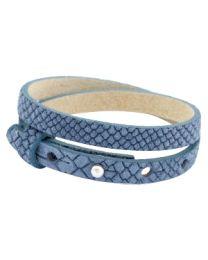 Cuoio Lederen Armband Dubbel Smal Reptile Light Denim Blue -