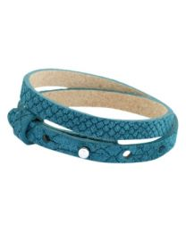 Cuoio Lederen Armband Dubbel Smal Reptile Mosaic Blue -