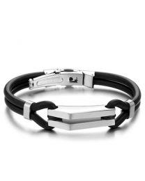 Heren Armband Staal met zwarte band 19cm -