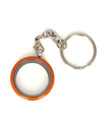Memory Locket Twist Oranje Sleutelhanger 30mm (Edelstaal/RVS) -