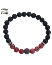 Fiell Lavasteen Armband Heren Red Jasper 21cm -