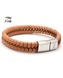 Fiell Genuine Leren Heren armband Light Brown 22cm -