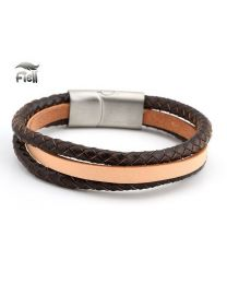 Fiell Genuine Leren Heren Armband Brown 22cm -