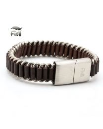 Fiell Genuine Lederen Heren Schakelarmband Brown 22cm -