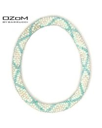 OZOM by Barrucci Roll-On Bracelet White Blue Striped -