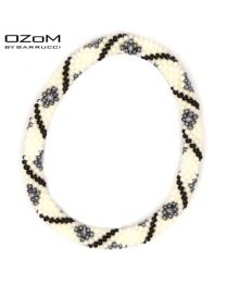 OZOM by Barrucci Roll-On Bracelet White Grey Flowers -