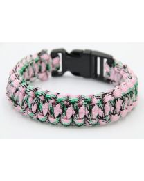 Paracord Heren Armband Black/Green/Pink -