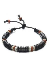 Heren Houten Kralen Armband Dark Brown/White 15-20cm -