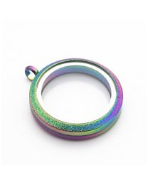 Floating Locket Medaillon Twist Sparkle Rainbow 30mm (RVS/Edelstaal) -