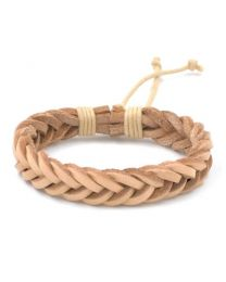 Heren Gevlochten Armband Light Brown 17-21cm -