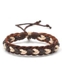 Heren Gevlochten Armband Brown/White 17-21cm -
