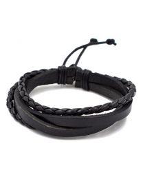 Heren Gevlochten Armband Black 17-21cm -
