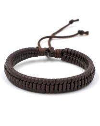 Gevlochten Armband Heren Dark Brown 17-21cm -