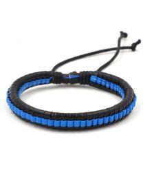 Heren Gevlochten Armband Black/Blue 17-21cm -