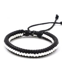Heren Gevlochten Armband Black/White 17-21cm -