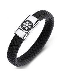 Heren Armband Staal met Gevlochten Band Flower 20cm -