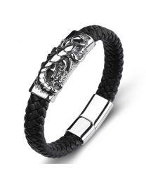 Heren Armband Staal met Gevlochten Band Scorpion 20cm -