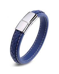Heren Armband Blauwe Gevlochten Lederen Band 20cm -