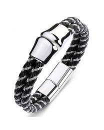 Heren Armband Staal Gevlochten Lederen Band 20cm -