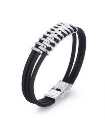 Heren Armband Siliconen Banden met RVS Design 21cm -