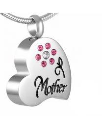 Ashanger Hart Mother Pink Flower (incl. ketting) -