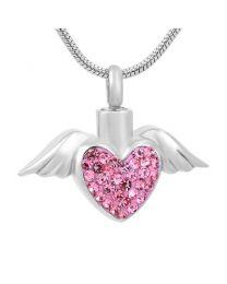 Ashanger Hart met Vleugels Pink Strass -