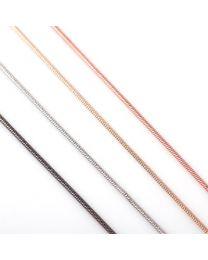 Gladde Snakeketting 60+4cm Zilver, Rose, Antraciet en Goud -