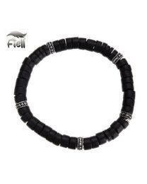 Fiell Armband Heren Houten Kralen Zwart 21cm -