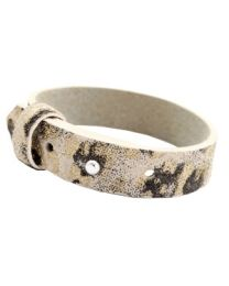 Cuoio Lederen Armband Breed Pristine Beige Panther -