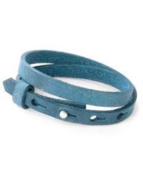 Cuoio Lederen Armband Dubbel Smal Navy Peony Blue -