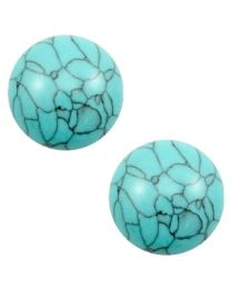 Cuoio Cabochon met Slider - Basic Stone Look Turquoise-Black -
