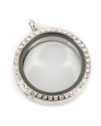 Memory Locket Medaillon Kristal Strass 30mm -