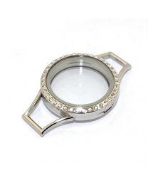 Memory Locket voor de Lederen Armband Kristal 30mm (RVS/Edelstaal) -