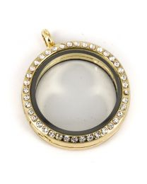 Memory Locket Medaillon Goud Kristal Strass 30mm -