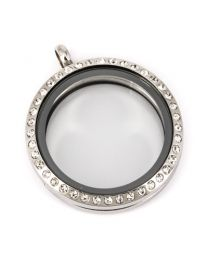 Memory Locket Medaillon Kristal 30mm (RVS/Edelstaal) -